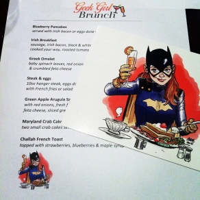 DC Comics #BrunchLikeBatgirl custom menus printed by our host, Playwright Pub